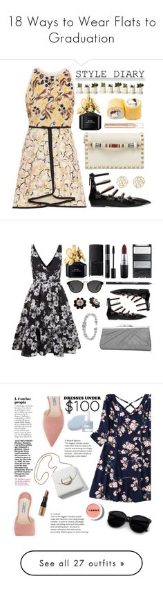 """""""18 Ways to Wear Flats to Graduation"""" by polyvore-editorial ❤ liked on Polyvore featuring waystowear, graduationflats, Giambattista Valli, Valentino, Fendi, Charlotte Russe, Marc Jacobs, Erdem, MAC Cosmetics and Urban Decay"""