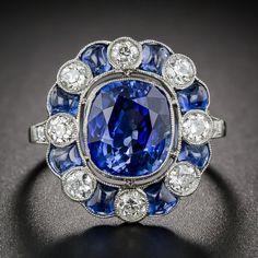 4.75 Carat Sapphire and Diamond Art Deco Style Ring