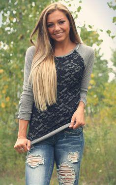 Gray with lace detailed sweater.  $40 www.poshnovi.com