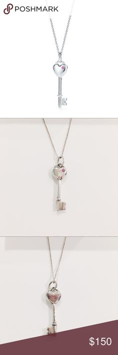 """Sterling silver heart key pink sapphire necklace Tiffany & Co. sterling silver heart key pendant with pink sapphire charm necklace with 18"""" sterling silver chain. Pendant is approx 1"""" long and wisest part measures 0.6"""".  Pendant and chain stamped with Tiffany & Co. and 925. Some tarnishing on back of pendant and light scratch on front left corner of heart. Authentic. Comes with original box and pouch. Tiffany & Co. Jewelry Necklaces"""