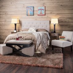 This modernly designed adjustable and mountable headboard is upholstered with an attractive tufted diamond design. Constructed with a sturdy hardwood frame, this headboard is a great choice for any bedroom setting.