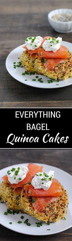Everything Bagel Quinoa Cakes with Smoked Salmon & Crème Fraîche - Get your day started right with this delicious breakfast recipe! - WendyPolisi.com