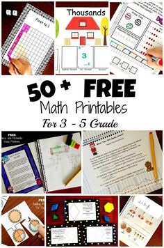 Check out my list of 3rd, 4th, and 5th grade free math printables. You will find hands on activities for division, fractions, decimals, place value, geometry, and much more.