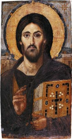 Christ Pantocrator, Monastery of St. Catherine of Sinai, Greek Orthodox handmade Icon on Wood. Christ Pantocrator,Monastery of St. Catherine of Sinai. Byzantine Icons, Byzantine Art, Early Christian, Christian Art, Religious Icons, Religious Art, Christus Pantokrator, Saint Catherine's Monastery, Jesus E Maria