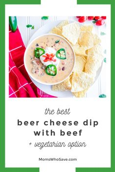You'll Love This Beef Queso Dip Recipe | MomsWhoSave.com #recipes #appetizer #texmex #vegetarian