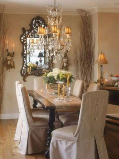 Dining Room , French Country Dining Room Decorating Ideas : French Country Dining Room Ideas With Rustic Table And Slipcovered Chairs And Crystal Chandelier And Ornate Mirror