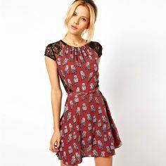 Women's High Fashion Beautiful Printing Lace Shift Black Dress 1/2 Sleeve 2013 New Summer SFAD036 $16.87