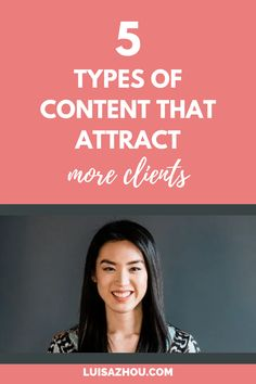 What are the best types of content to attract clients? Here are 5 types of content marketing ideas. Use these content types on social media to grow your business. #contentforsocialmedia #socialmediacontent #businesscontent