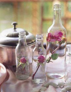 Botellas como centro de mesa