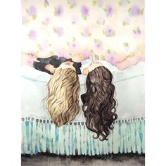 Best Friends - Sisters - Watercolor Painting Print 8x10 ($20) ❤ liked on Polyvore featuring backgrounds, pictures, art, photos, best friends and fillers