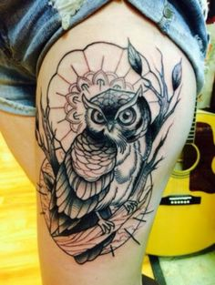 Beautiful Owl Tattoo for Thigh. More via http://forcreativejuice.com/attractive-owl-tattoo-ideas/