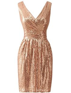 6a937297a88c JAEDEN Simple Gold Bridesmaid Dresses Short Sequin Dress for Prom Party at  Amazon Women s Clothing store