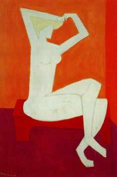 Milton Avery (American: 1885–1965)  orange on maroon