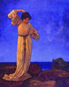 """Maxfield Parrish, GRISELDA 1910, oil on canvas, 40"""" x 32"""", National museum of American illustration."""
