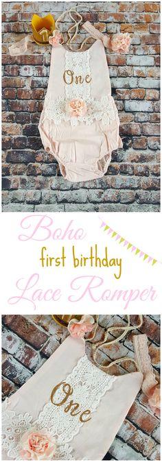 Blush Boho Chic Floral Lace Romper. Headband. Mini Birthday Crown. First Birthday. Gold and Blush Pink. 1st Birthday Girl. Cake Smash... #afflink