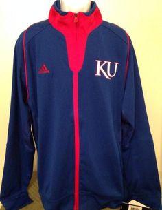 Men's Addidas Jacket Size Large Red White Blue Kansas Retails $80.00 #adidas #CoatsJackets