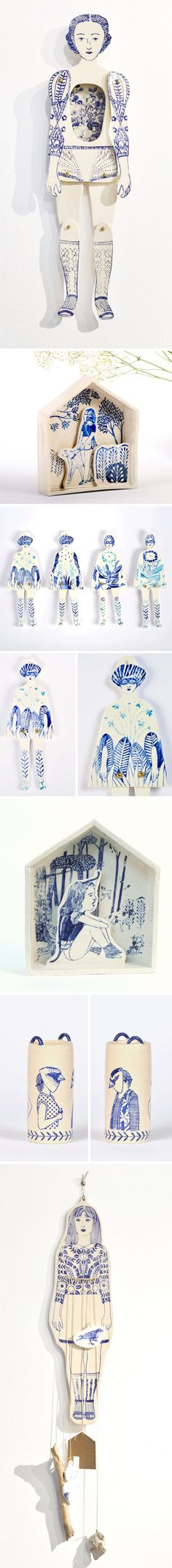 A paper doll… made from porcelain. This is the work of Barcelona based artist/illustrator Sonia Pulido. All of her work, but especially the ceramic pieces, are so whimsical, feminine,