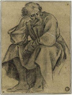 Inventaire du département des Arts graphiques - Un vieillard assis, accoudé sur les genoux : étude pour le premier tableau - LE SUEUR Eustache