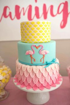 cake from Flamingo + Flamingle Pineapple Party at Kara's Party Ideas. See… - Party Ideas Pink Flamingo Party, Flamingo Cake, Flamingo Birthday, Pink Flamingos, Decors Pate A Sucre, Tropical Party, Luau Party, Pool Party Cakes, Cake Party