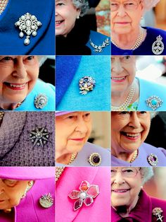 Queen Elizabeth II wearing some of the many brooches in the Royal collection.
