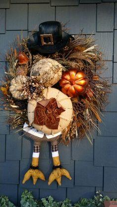 Thanksgiving wreath, turkey, pumpkin