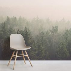 Peach and Green Ombre Forest Wall Mural - Murals Wallpaper