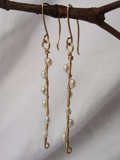 Free Domestic Shipping  Pussy Willow Pearl Earrings by FionasKnits, $20.00