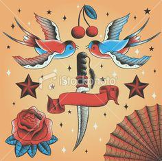 Tatouage, Retour du rétro, Hirondelle, Démodé, Oiseau Illustration vectorielle libre de droits
