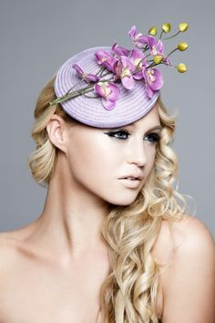 Emma Brown Couture Millinery -  Eloise - Straw buntal smartie with a baby orchid flower entre piece. #passion4hats