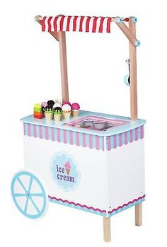 Windsor Play Kitchen Ice Cream Cart - Add retro style to your youngster's pretend play by adding the Windsor Play Kitchen Ice Cream Cart to your home. This durable wooden cart comes. Ice Cream Stand, Ice Cream Cart, Breakfast Table Setting, Wooden Cart, Play Kitchen Sets, Play Kitchens, Kids Makeup, 9th Birthday, Birthday Ideas