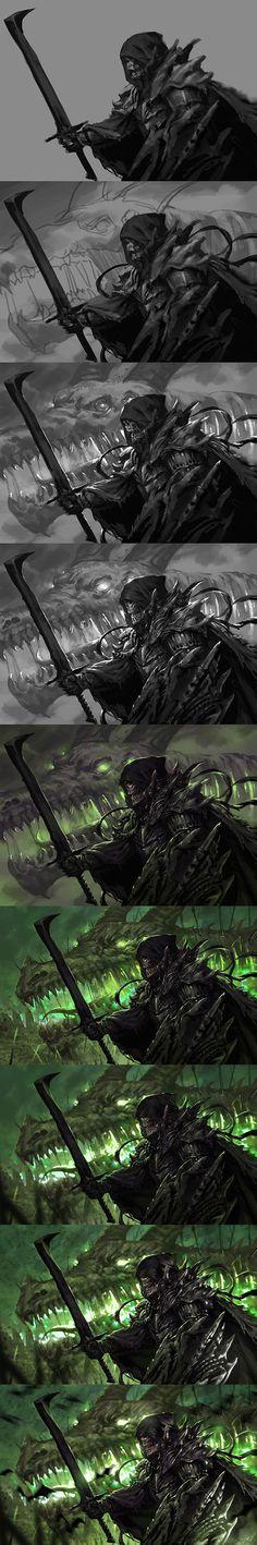 Undead Knight Work Process by dcwj.deviantart.com on @deviantART