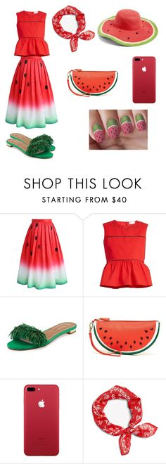 """""""Watermelon Fashion!"""" by braceface04 ❤ liked on Polyvore featuring Chicwish, RED Valentino, Aquazzura, Shiraleah, rag & bone and Collection XIIX"""