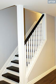 For front room.Basement half open staircase, white spindles and rising, steps stained in red oak pewter, ICI Dulux Silver Cloud paint Open Basement Stairs, Basement Steps, Basement Living Rooms, Open Stairs, Modern Basement, Basement Finishing, Basement Ceilings, Basement Plans, Basement Bathroom