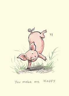 Somersaulting pig by Anita Jeram This Little Piggy, Little Pigs, Anita Jeram, Pig Art, Cute Piggies, You Make Me Happy, Mundo Animal, Children's Book Illustration, Penny Black