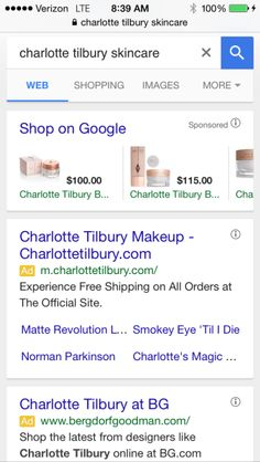 aText Ads Do Not Appear To Be Cannibalizing PLA Impressions The query that produced the three-text-ad screenshot above, [charlotte tilbury skincare], also still produces a PLA carousel, along with two text ads for some phone searches:phone-screenshot-google-two-text-ads-pla-carousel