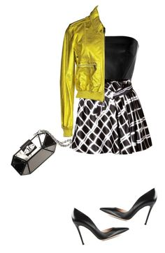 """Black and white and shimmer. skirt and top and heels and clutch with bold bomber jacket."" by kohlanndesigns ❤ liked on Polyvore featuring Alexander McQueen, David Koma, Kenzo, Gianvito Rossi, Burberry, women's clothing, women's fashion, women, female and woman"