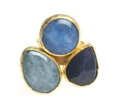 24K Yellow Gold Plated Blue Tonal Chalcedony Natural Three Stone Adjustable Ring Modern Curated Collection,http://www.amazon.com/dp/B00JHM2TNI/ref=cm_sw_r_pi_dp_XxxEtb0CME40380Z #Handmade #Jewelry #Vintage #Antique #Design #Gemstone #Natural #Stone #Adjustable #Ring #ChicBahar