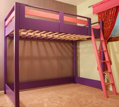 DIY Loft Bed - A loft bed is a great space saver for a kid's room! A younger kid could use the space underneath as a play area and an older kid could use it as a study area.