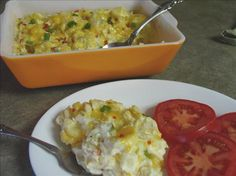 "Loaded Baked Potato Salad:   This is a dish my family and friends ask me to bring to potluck/cook-outs! NEVER any left to bring home! (my sister brings a bowl to take what MIGHT be left) Taste great hot out of the oven or ""room temperature""  Photo by Junebug"