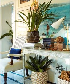 I Wanted Charming Home Decor, But Ended Up With Blah - wonderful table styling and interior design by William McClure Tropical Home Decor, Tropical Houses, Coastal Decor, Tropical Interior, Tropical Colors, Tropical Style, Coastal Cottage, Coastal Living, Luxury Living