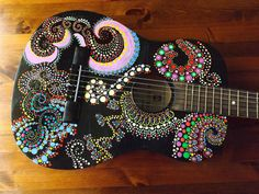 Hand Painted Guitar by OceanFleur on Etsy, $75.00