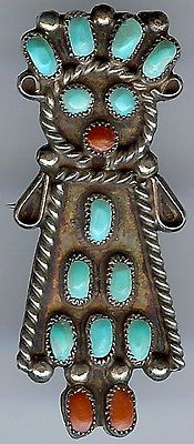 CHARMING VINTAGE ZUNI INDIAN SILVER TURQUOISE CORAL FEMALE KACHINA PIN in Jewelry & Watches, Ethnic, Regional & Tribal, Native American, Pins, Brooches | eBay