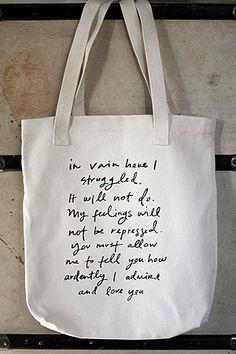 Bag / Tote - Mr Darcy Proposal - Handmade Jane Austen Online Giftshop