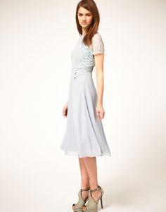 Asos Midi Tea Dress with Pleat Lace Insert