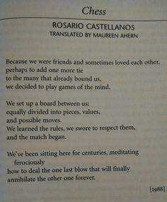 """Chess"" a poem by Rosario Castellanos"