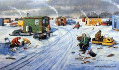 The frozen lake is filled, on this great winter day, with fisherman, grillers and snowmobiliers in Ken Zylla's Shanty Town.