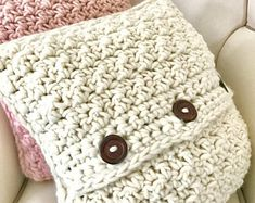 Crochet Pillow / 100% Soft Spun Wool