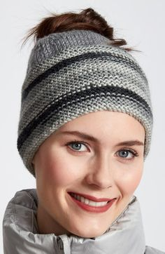 Free Knitting Pattern for Ombre Messy Bun Hat - Easy Caron Simply Soft Messy Bun Hat is knit flat and seamed and features an ombre striped garter stitch brim.