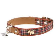Highland Bling Scotty Leather Dog Collar - Red Tartan by Hamish McBeth
