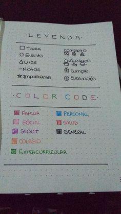 Ya empecé mi bullet journal! #bulletjournal #bujo #colorcode #leyenda #key #leyend #journaling